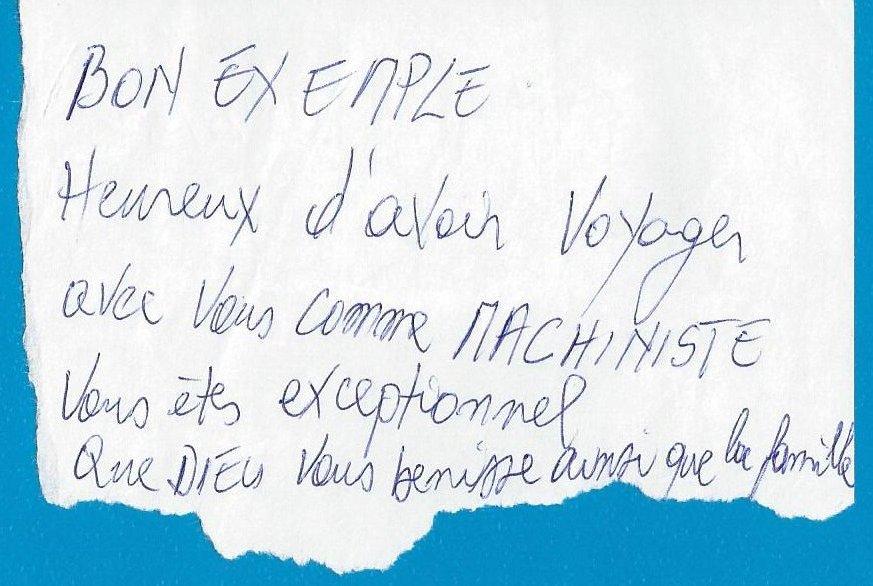 photo d'un message d'un voyageur de SmileyTrains dans le RER E SNCF