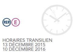 Nouveaux horaires hiver RER E